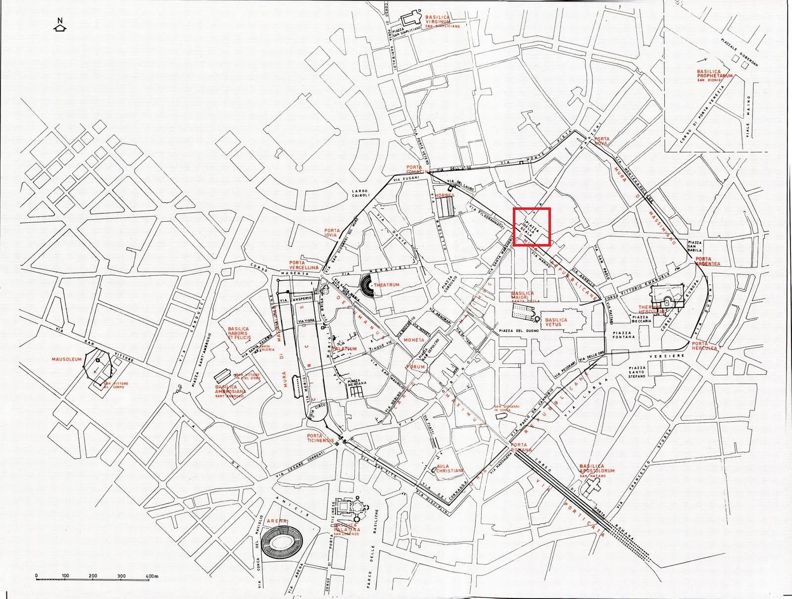 Milano romana: Piazza della Scala (nel riquadro rosso) risulterà nuovo punto di cerniera tra la più vecchia Mediolanum e la nuova città