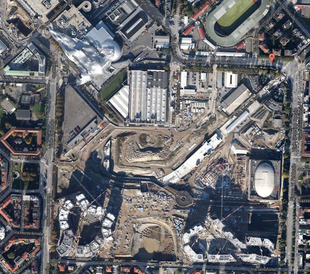 L'area dell'ex Fiera interessata dal cantiere del nuovo progetto di riconversione