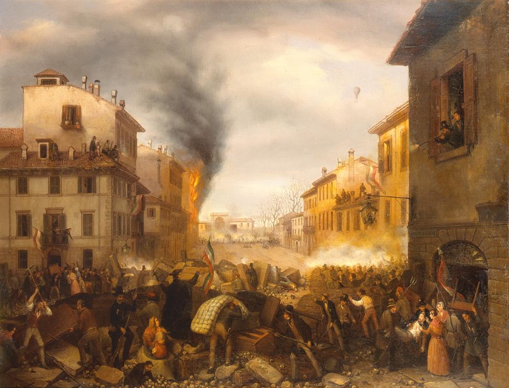 Barricate lungo Porta Tosa. Dipinto di Carlo Canella