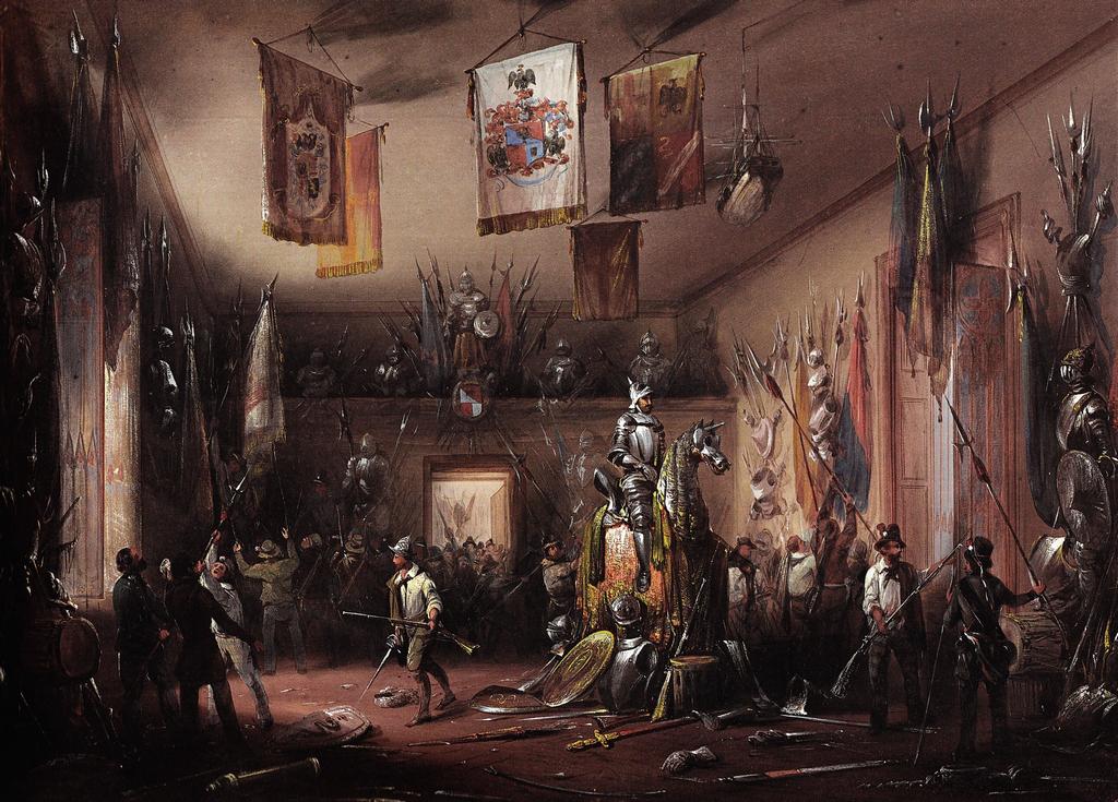 Armeria del nobiluomo Ubaldo invasa dagli insorti. Dipinto di Carlo Bossi