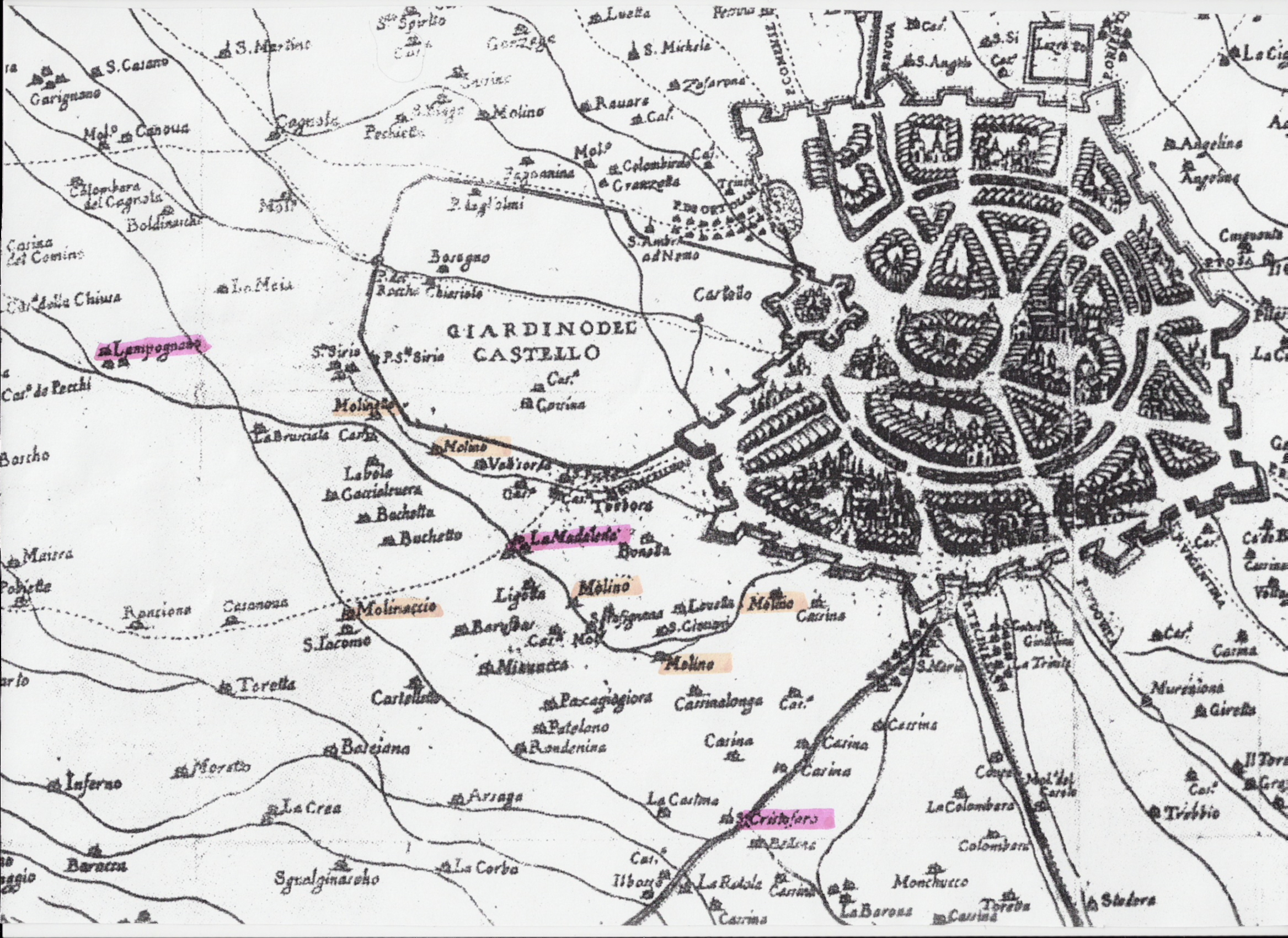 Questa mappa della Milano del XVI sec., ci illustra anche l'ampiezza del barcho circondato da mura.