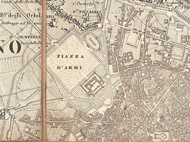 Nella carta post-unitaria di Giovanni Brenna si evidenzia come fuori dalla Piazza d'armi del Cagnola, fossimo ancora in presenza di territorio non urbanizzato