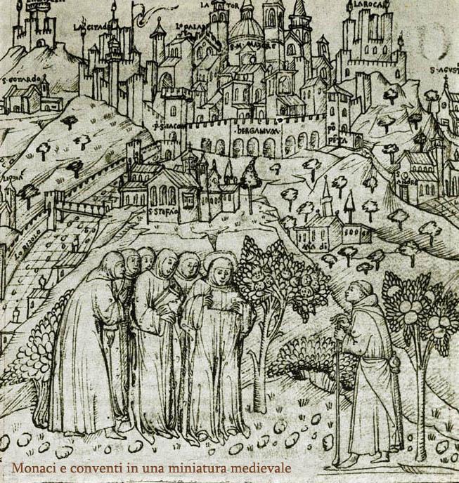 Miniatura medioevale che immortala l'opera di Bonifica e messa a coltura dei terreni nella pianura padana.