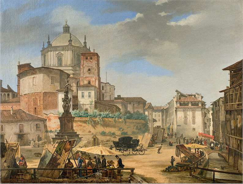 Giuseppe Elena, 1833 (Fondazione Cariplo) - veduta della Vetra, con la crocetta di S. Lazzaro: allora come oggi ancora visibile