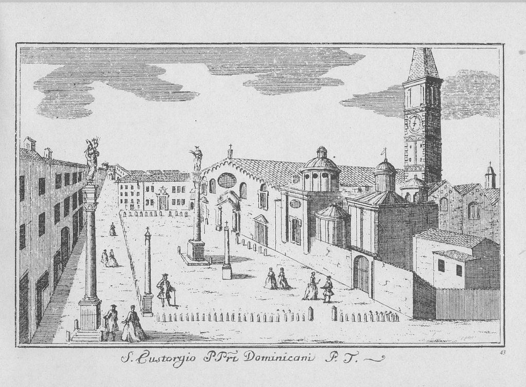Marc'Antonio Dal Re, veduta settecentesca della Piazza S. Eustorgio, con il convento sede dell'Inquisizione.