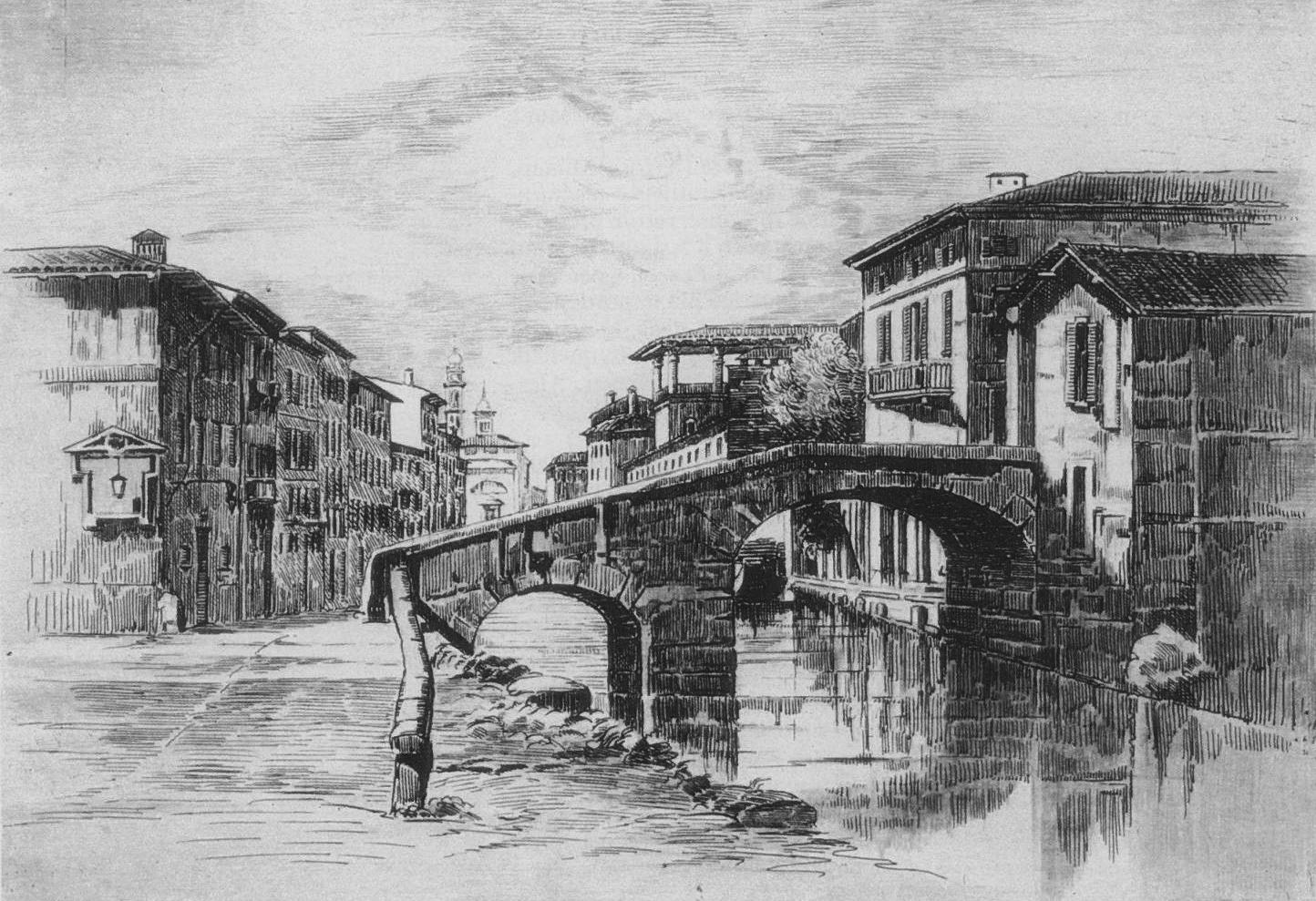 Acquaforte tratta da un disegno ottocentesco di Migliara con il ponte delle Pioppette sul Naviglio di Via Molino delle Armi.