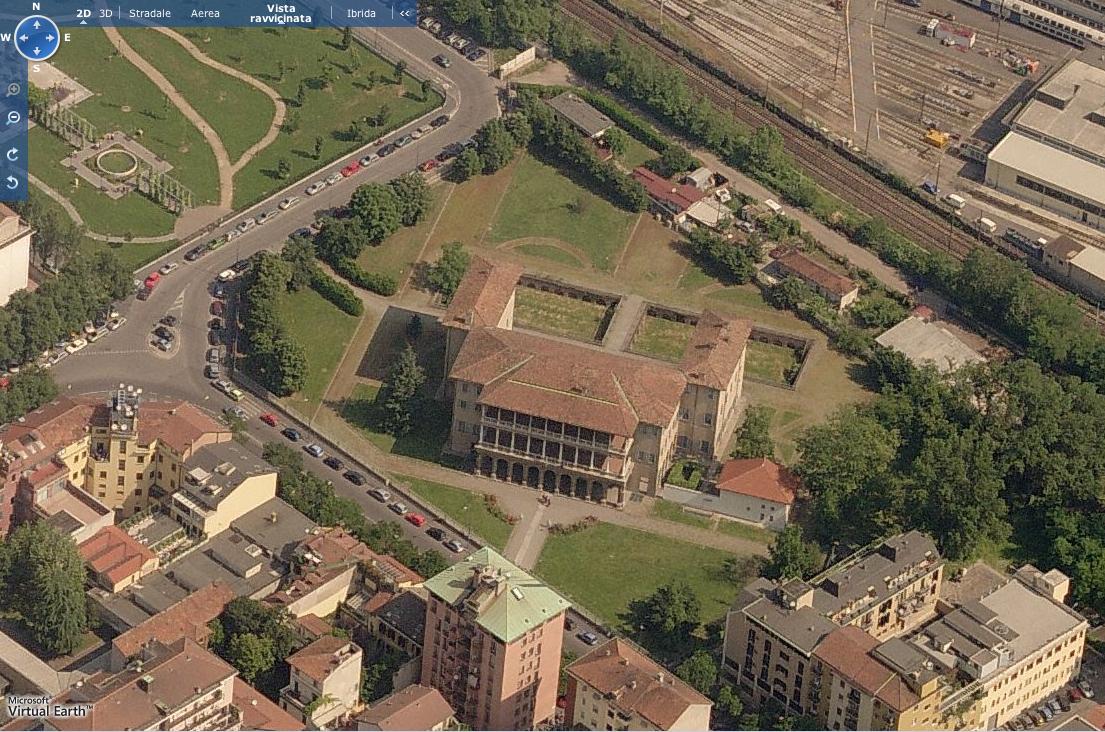 Vista aerea della Villa Simonetta oggi