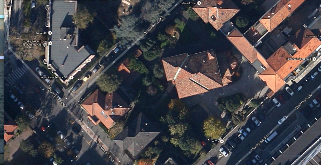 Villa Triste già Fossati, con al centro la chiesetta di S. Siro alla Vepra