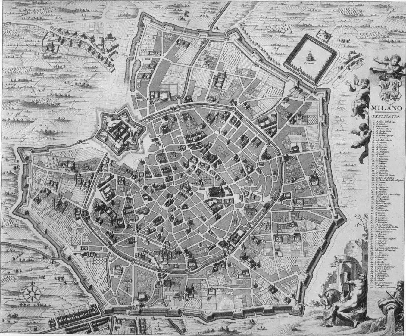 Mappa della Milano spagnola con la cinta bastionata, la cerchia dei navigli all'interno e del castello a guardia del sistema.