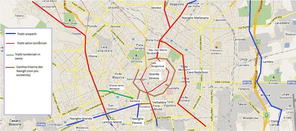 Situazione attuale delle vie d'acqua in città (immagine da vecchiamilano.wordpress.com )