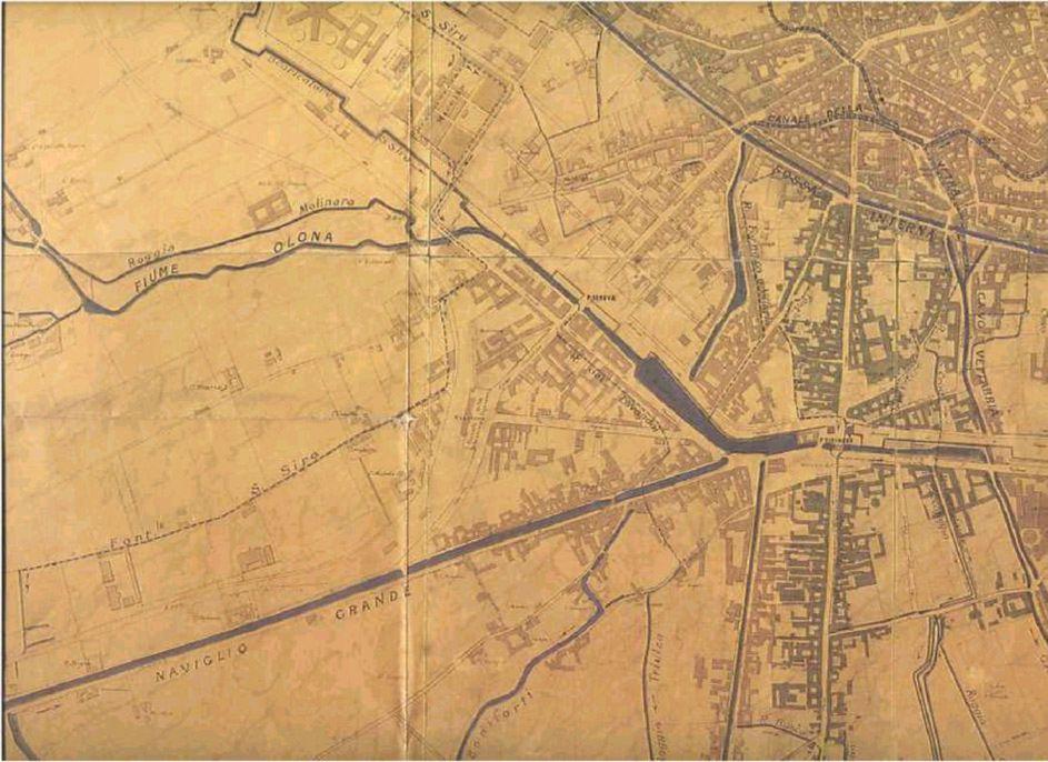 Una mappa ottocentesca testimonia ancora la fitta rete d'acqua a cielo aperto che gravita intorno al bacino della Darsena.