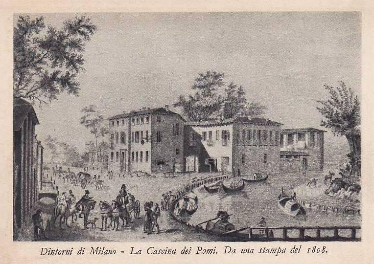 Stampa ottocentesca della Cassina de Pomm, luogo dove oggi la Martesana si interra sotto Via melchiorre Gioia.