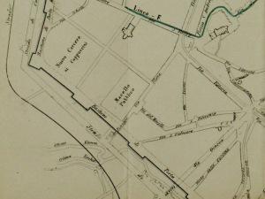 In questa mappa del 1871 si legge più chiaramente l'andamento del fiume Olona (oggi tombinato sotto il parco) e l'isola detta di Brera.