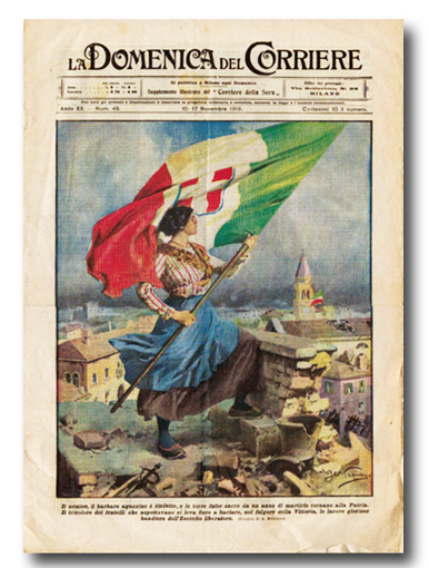 La copertina della Domenica del Corriere alla fine della guerra con l'immancabile propaganda patriottica