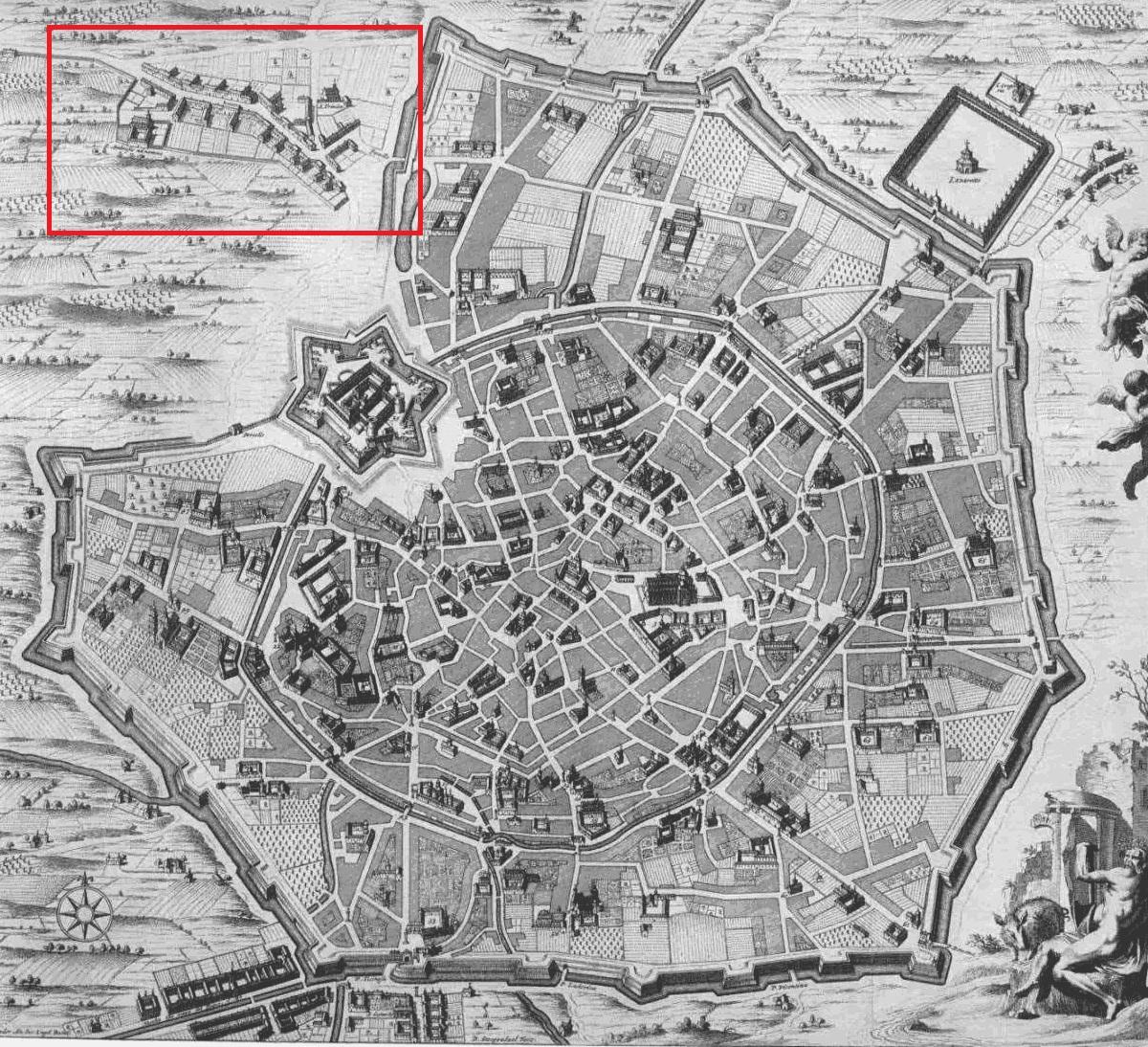 Riproduzione della Milano spagnola con l'individuazione del già esistente Borgo degli Ortolani.