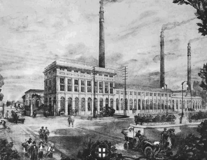 Vecchia stampa raffigurante la centrale elettrica comunale di piazza Trento. entrata in servizio nel giugno del 1905.