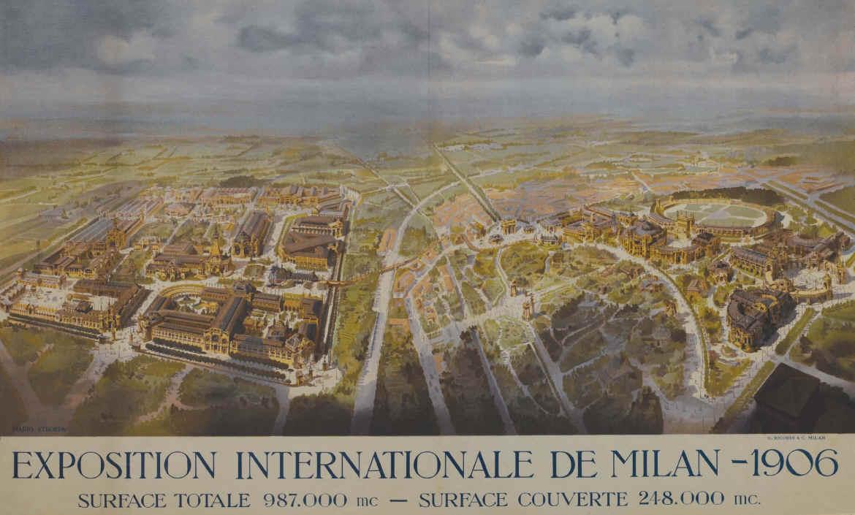 Manifesto con una veduta dell'area interessata dall'EXPO del 1906, tenutosi a Milano.