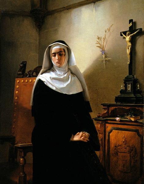La Monaca di monza, di manzoniana memoria, fu avviata fin da piccola e con una ricca dote alla carriera ecclesistica. Nel dipinto: La Signora di Monza - Giuseppe Molteni, 1847