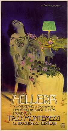 """Dudovigh Anno: 1909 Soggetto: """" Hellera """" da """" Adolphe"""" di B.Costant - Stampa Officine Grafiche G.Ricordi, Milano (Raccolta Salce, Museo Bailo ,Treviso)"""