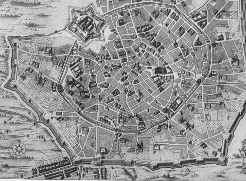 Il Borgo delle Grazie, e la vigna di leonardo, si trovava ben fuori le mura. Nella vecchia mappa del periodo spagnolo è ben visibile come appendice costruita in basso.