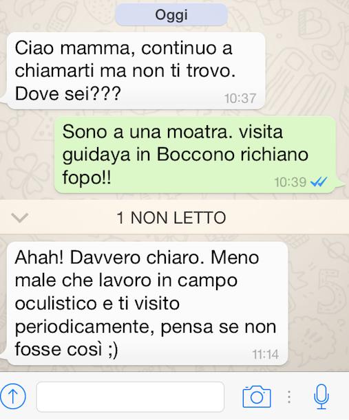 """Traduco quello che avevo scritto a mia figlia senza occhiali """"Sono a una mostra. visita guidata in Bocconi. richiamo dopo!!"""""""