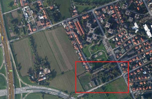 La precisa collocazione dell'area Marchiondi, a Baggio, tra Via Noale e Via Antonio Mosca.