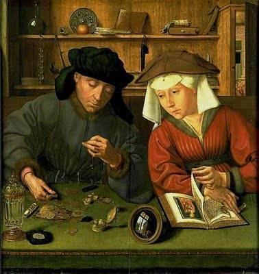 Quentin Metsys. Cambiavalute e sua moglie (1514)- La finanza è già divenuta un'impresa familiare.