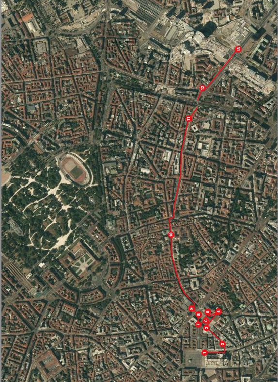 Mappa itinerario Duomo-Porta Nuova (by Robert Ribaudo)