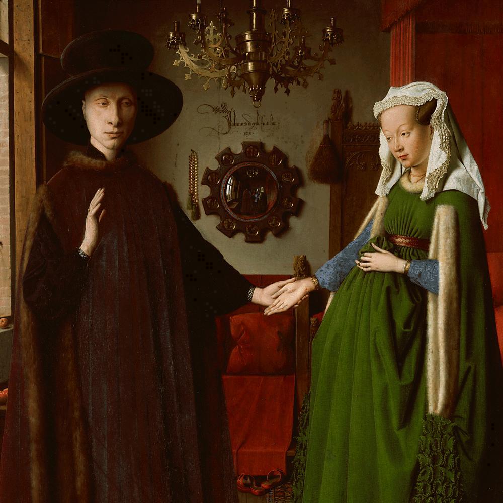 Il ritratto dei coniugi toscani Arnolfini di Jan van Eyck del 1434, restituisce il successo e la penetrazione dei mercanti italiani nelle Fiandre, come in altre grandi centri commerciali dell'Europa del Nord