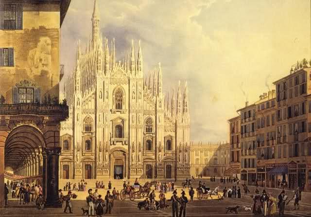 Veduta ottocentesca con il Coperto del Figino a sinistra e gli edifici del Rebecchino a destra.