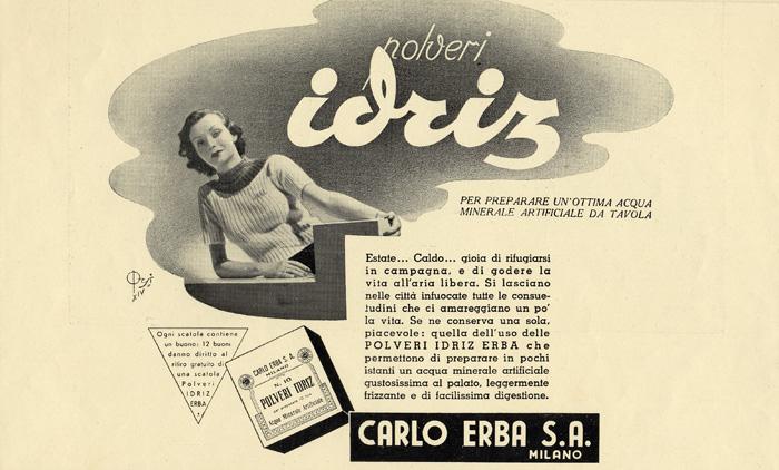 La mitica polverina Idriz! Nel testo pubblicitario si parla orgogliosamente di acqua minerale ARITIFICIALE!