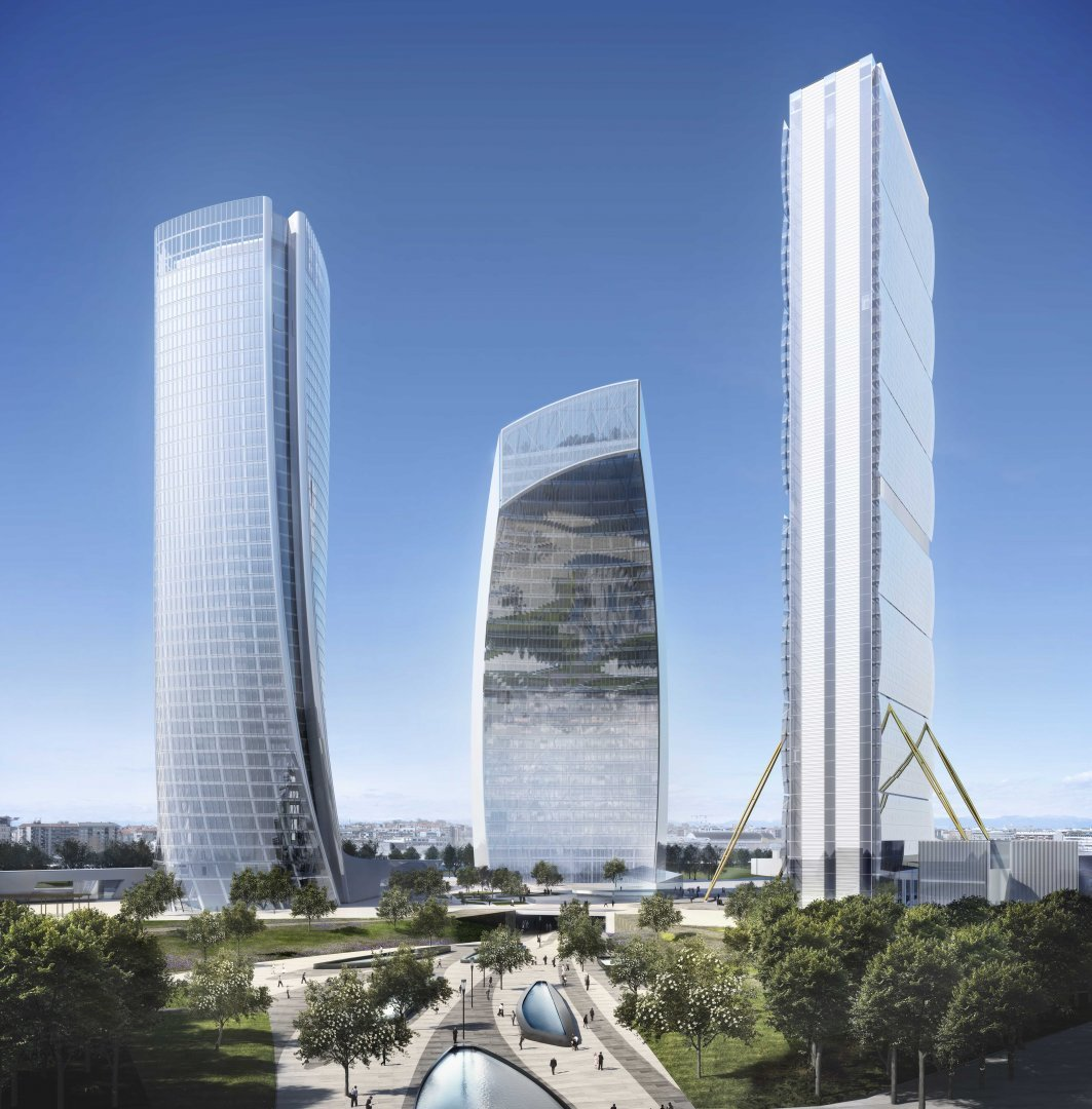 Le tre torri di City Life in un rendering che ne illustra il contesto urbano (da il Piccolo)