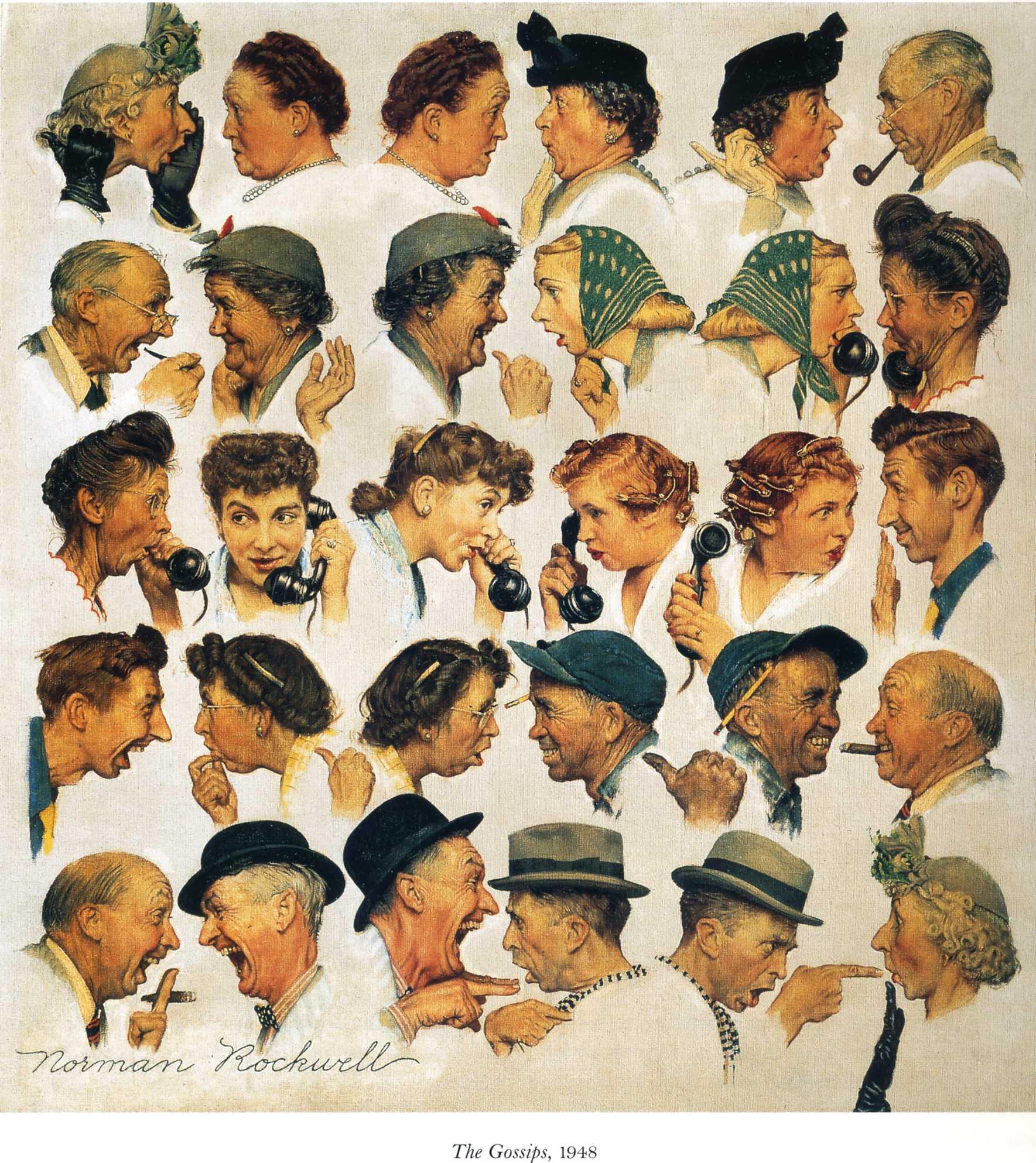 La celebre bellissima immagine di Norman Rockwell su chiacchiere e spetteguless (per dirla alla milanese)