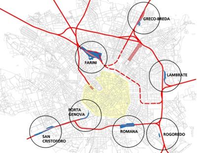 L'anello ferroviario intorno alla città con i relativi scali dismessi a disposizione (fonte Comune di Milano)