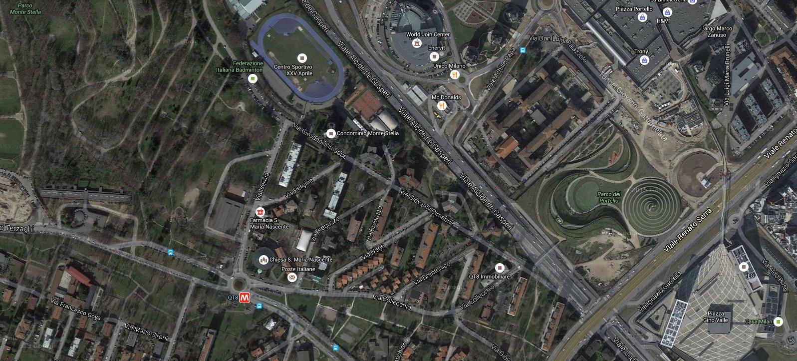 Il nuovo parco al Portello si trova tra viale Serra e viale Alcide De Gasperi.