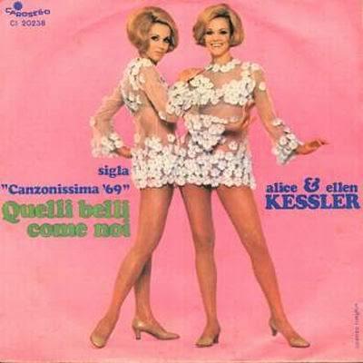 Le gemelle Kessler e il 45 giri della sigla da loro cantata citata nel post