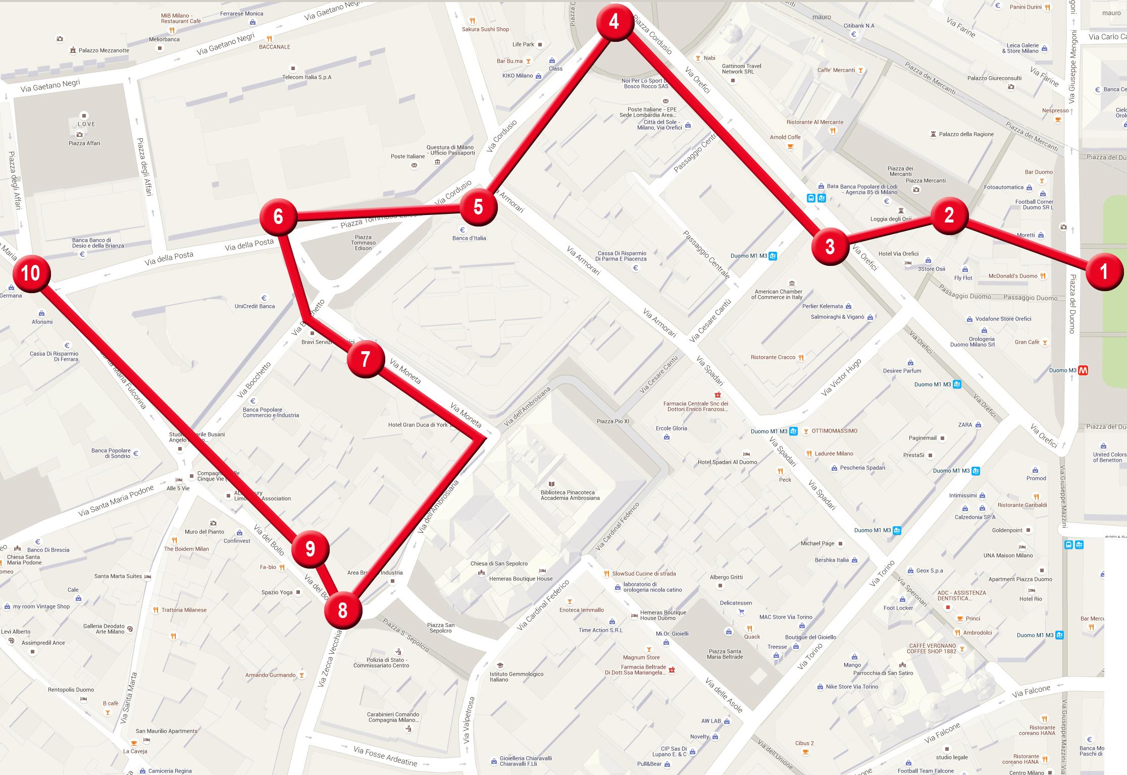 Seguendo i punti successivi delle tappe riportate sulla mappa vi guideremo per attraverso i tesori di Milano