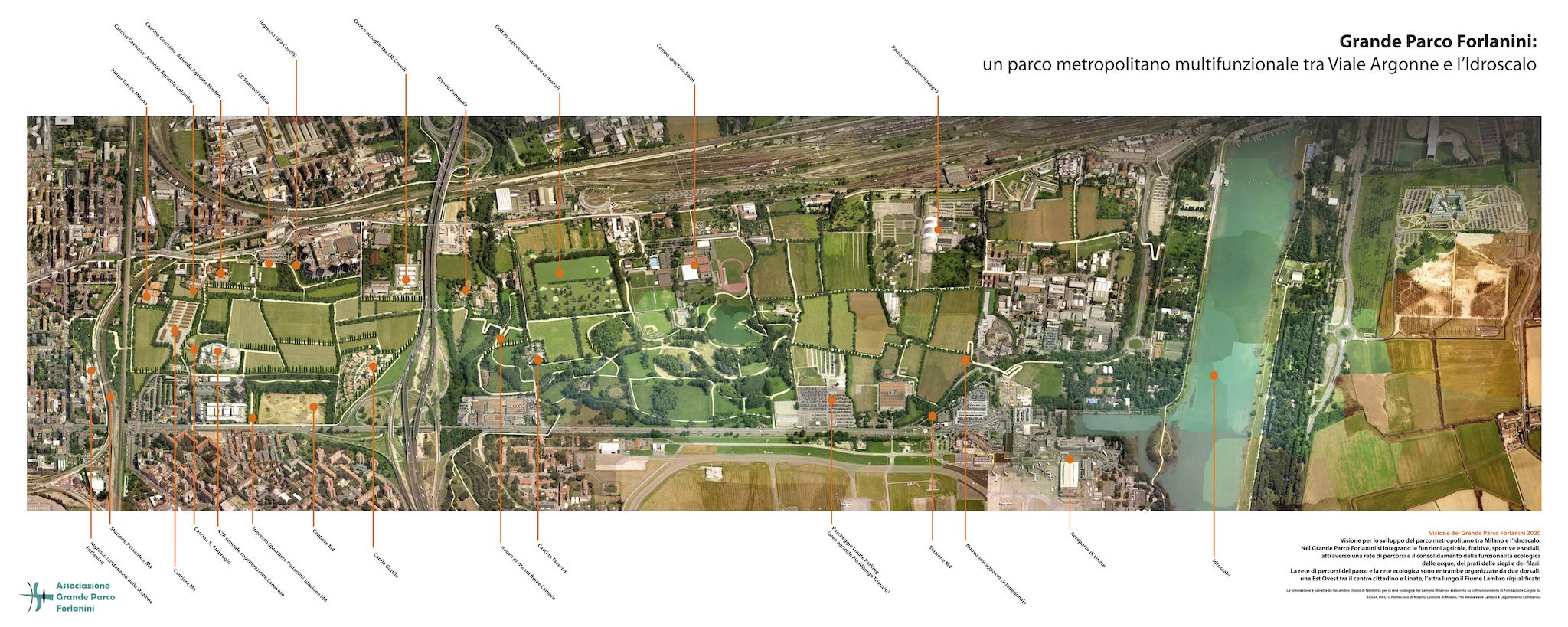 Una tavola tecnica del masterplan del Comune di Milano che mette in evidenza il ruolo di cerniera tra la città e l'Idroscalo e con il corridoio ecologico del fiume Lambro