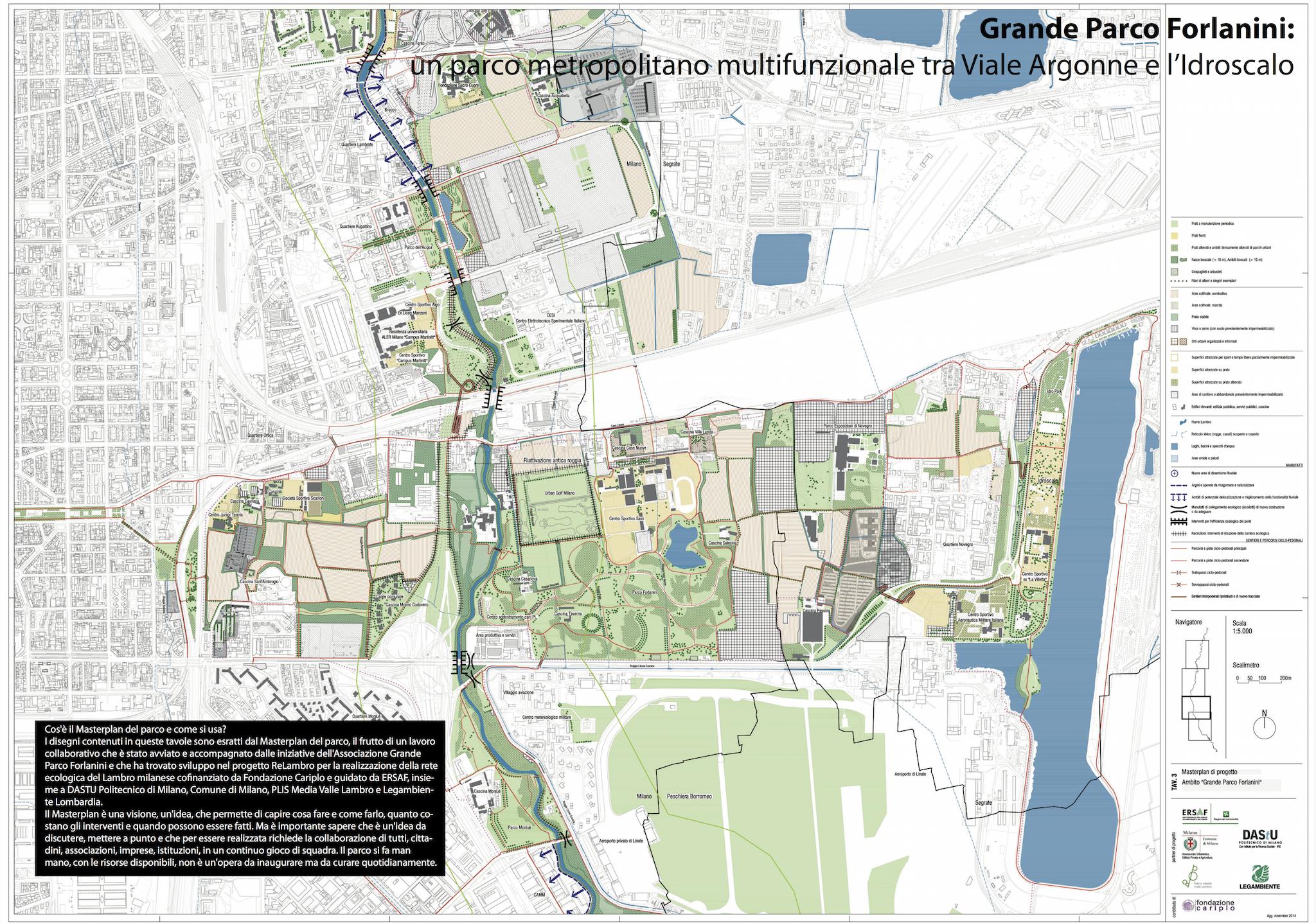 tavola tecnica del masterplan del Comune di Milano con cui si descrive l'ampliamento dei confini del nuovo parco.