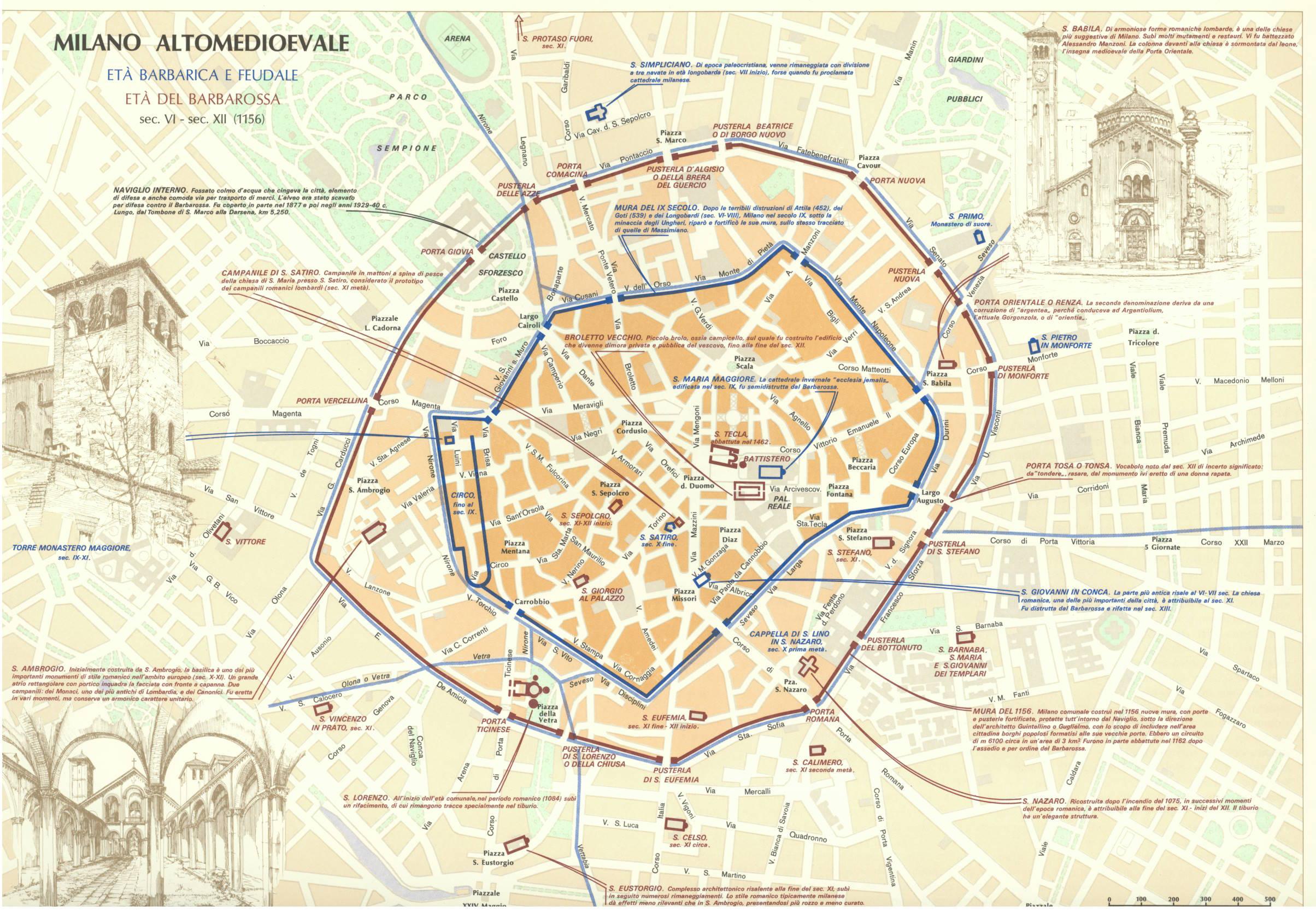 I confini della Milano alto medioevale e i corpi santi, le aree cimiteriali con le relative chiesette fuori le mura