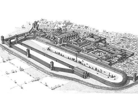 Una ricostruzione del circo della Milano romana.