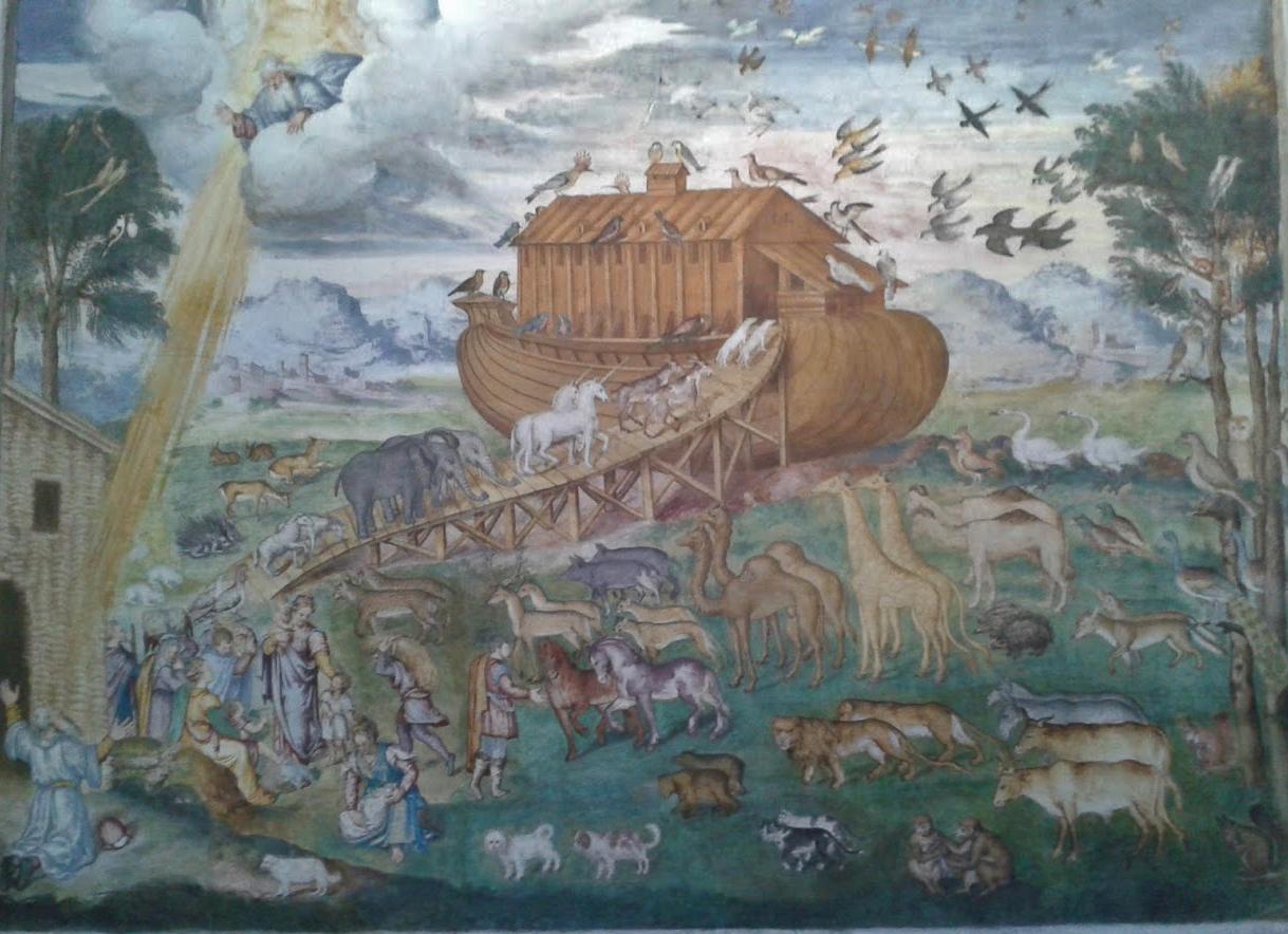 Un'originale interpretazione dell'arca di Noè, in fondo all'aula delle monache (foto di Robert Ribaudo)