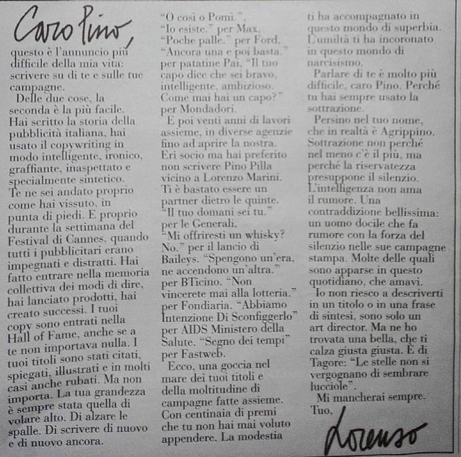 La bella lettera di Lorenzo Marini dedicata a Pino Pilla, grande copywriter - e persona - scomparsa in questi giorni