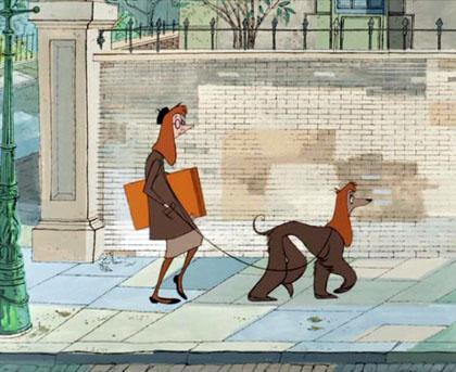 """Frame dallo storico film d'animazione Disney """"La Carica dei 101"""" dove si spiega che i cani e i proprietari s'assomigliano al 100%"""