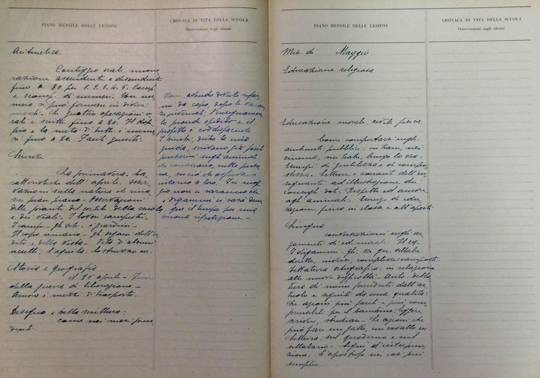 Un registro dell'anno scolastico 1945-46 della scuola Stoppani