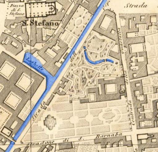 Un'estratto di mappa della metà del sec. XIX con il Collegio della Guastalla riconoscibile per la peschiera al centro del giardino