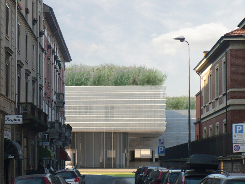 Ecco come si presentaerà alla fine dei lavori l'area di cantiere in oggetto, vista da Via M. Fanti)