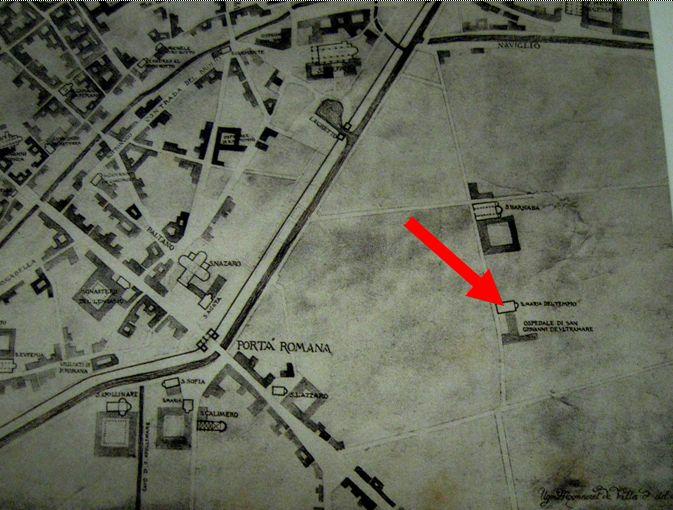 Milano verso l'anno 1300 di Ugo Monneret de Villard-Liber Notitiæ Sanctorum Mediolani-Biblioteca Ambrosiana. Sulla destra in aperta campagna, si può osservare l'avamposto Templare, a sud del chiostro di S. Barnaba.