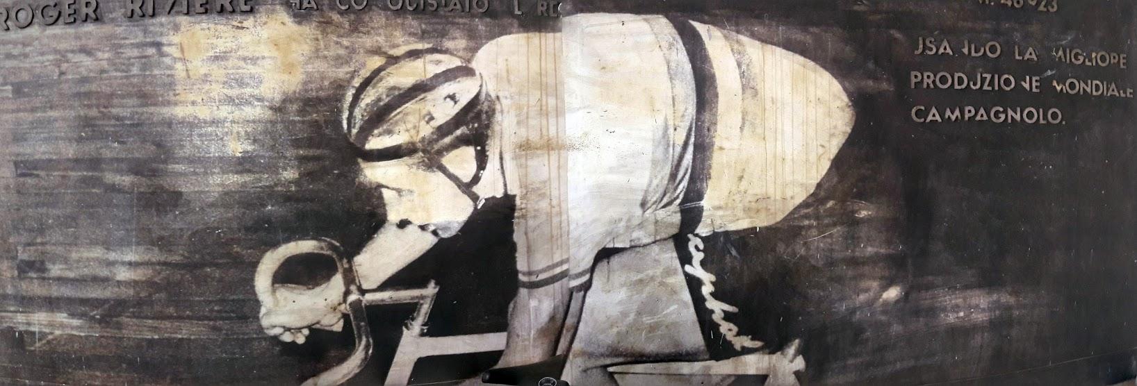 Un pannello che immortala le gesta di Rogere riviere al Vigorelli (fotografato per gentile concessione del sig. Masi dell'omonima ciclo-officina)