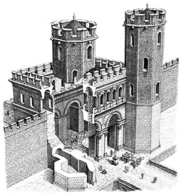 Ricostruzione della Porta Pretoria di Como (immagine tratta da NonSoloComo.info)